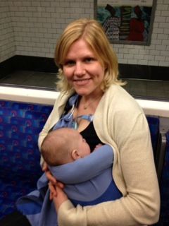 Here is a photo from when I had to take Ben on the Underground to be interviewed at the American Embassy when he was 2 months old. So much easier than a pram!